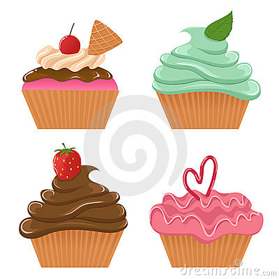 Set of four cupcakes