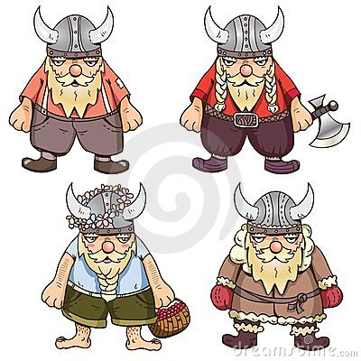 Set of four cute Vikings