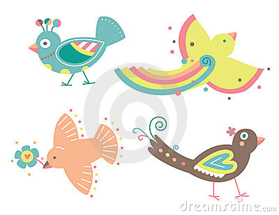 Set of Four Decorative Birds