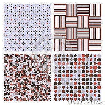 Set of four decorative retro seamless patterns