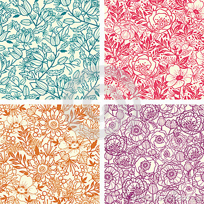 Set of four floral line art seamless pattern