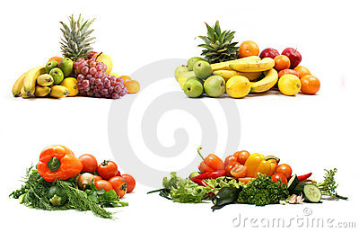 A set of four heaps of fruits and vegetables