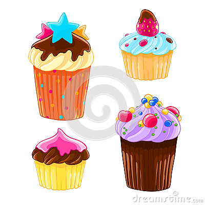 Set of four icons in a cartoon style, delicious muffins with the cream, chocolate and strawberry. Vector Illustration
