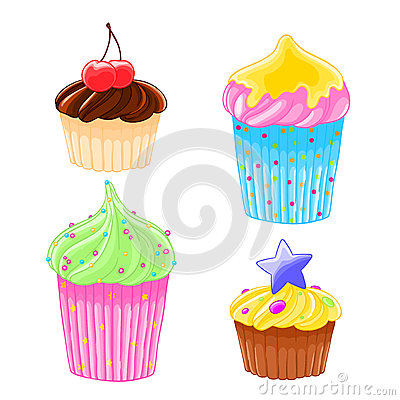 Set of four icons in cartoon style delicious muffins with frosting, chocolate and cherry. Vector Illustration