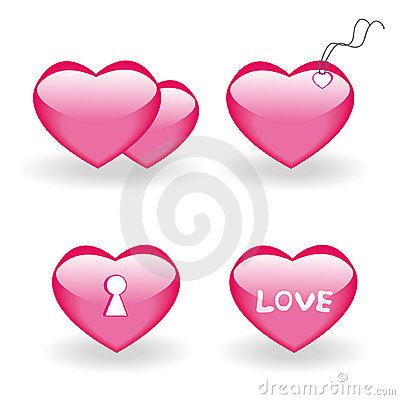 Set of four icons with hearts