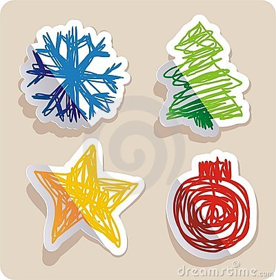 Set of four main Christmas symbols