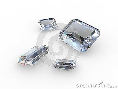 Set of four pale blue diamonds