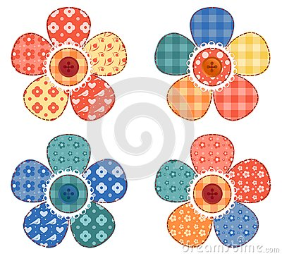 Set of four patchwork flower.