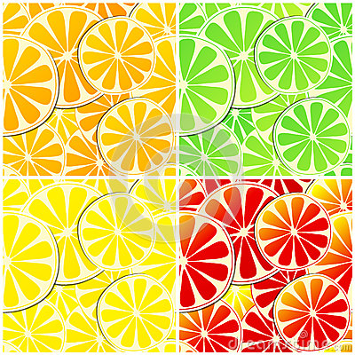 Set of four seamless citrus fruit background