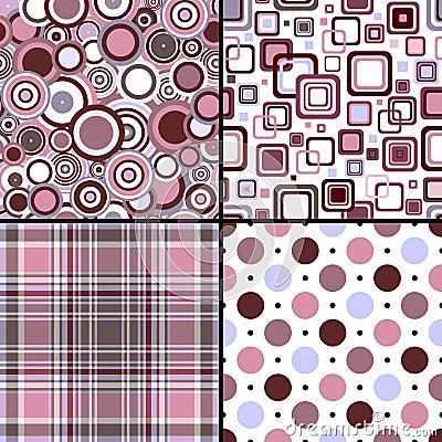 Free Set Four Seamless Patterns Royalty Free Stock Photos - 12839938