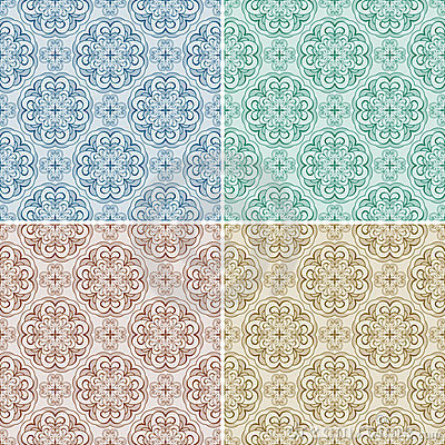 Set with four seamless patterns