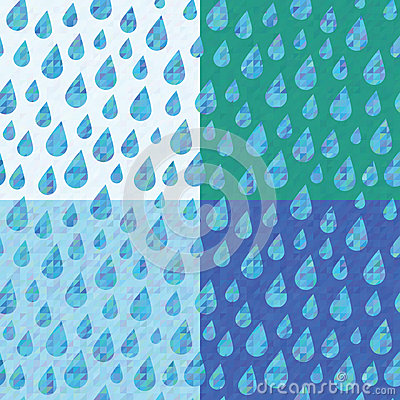 Set of four seamless patterns with rain drops