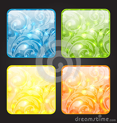 Set four seasonal icon with floral colorful backgr