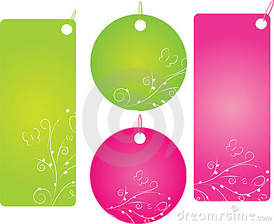 Set of four shopping labels