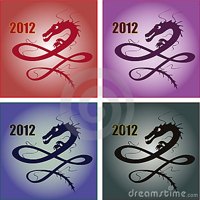 Set of four stylish dragons for 2012