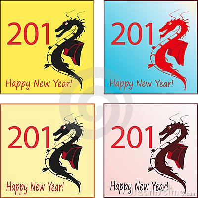 Set of four stylish dragons for 2012 New Year