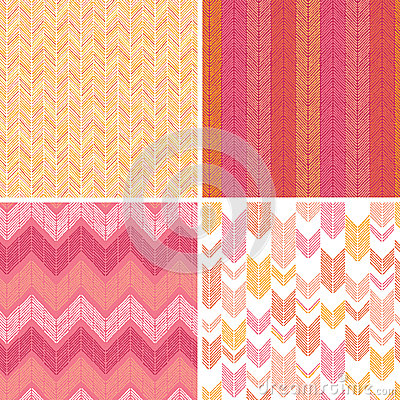 Set of four textile argyle seamless patterns