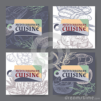 Set of four vector Mediterranean cuisine banners. Vector Illustration
