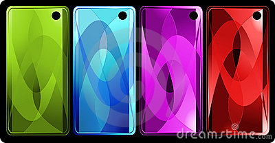 Set of four vertical colored banners