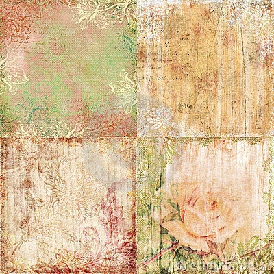 Set of four vintage floral shabby backgrounds