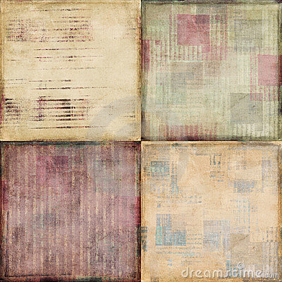 Set of four vintage shabby textured backgrounds