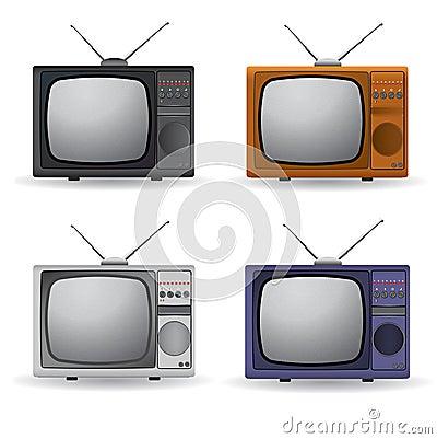 Set of four vintage TV
