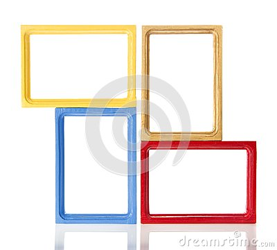 Set of four wooden framework for photo