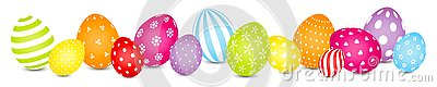 Easter Eggs Mix Pattern Rainbow Color Banner Stock Photo