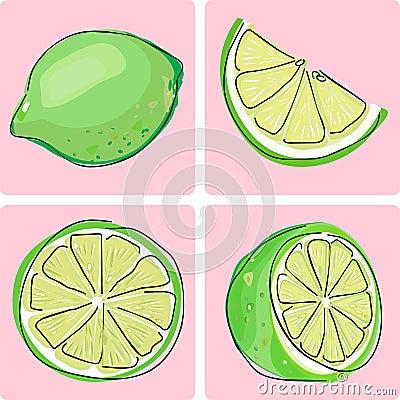 Set för fruktsymbolslimefrukt