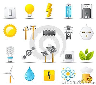 Set för ström för nouve för elektricitetsenergisymbol
