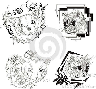 Set of framed cat sketches