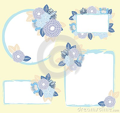 Set of frames with flowers