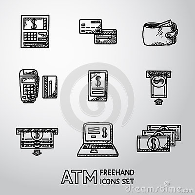 Set of freehand ATM icons with - ATM, cards Vector Illustration