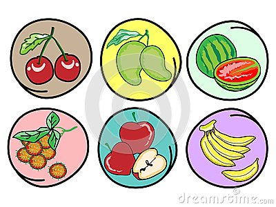 Set of Fresh Fruits on Round Background