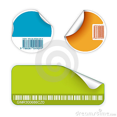 Set of fresh labels with bar codes