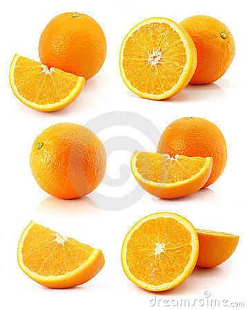 Set of fresh orange fruits isolated on white