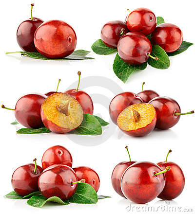 Free Set Fresh Plum Fruits With Cut And Green Leaves Stock Photo - 11331500