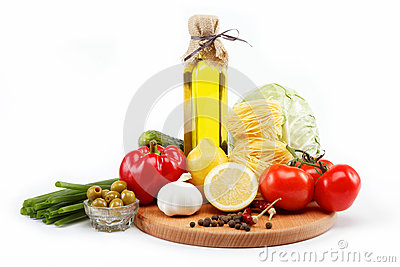 Set fresh vegetables with olive oil isolated.