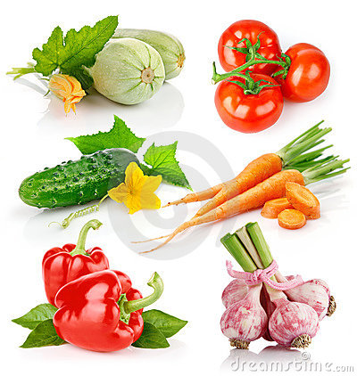 Free Set Fresh Vegetables With Green Leaves Royalty Free Stock Photo - 15452785