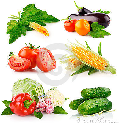 Free Set Fresh Vegetables With Green Leaves Royalty Free Stock Photos - 15847718