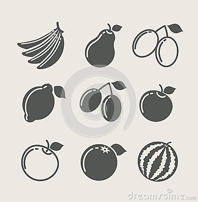 Set of fruit food icon