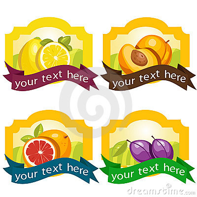 Set of fruit labels Vector Illustration