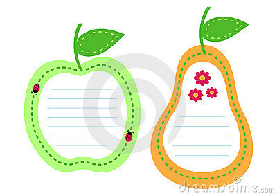 Set of fruit lined paper