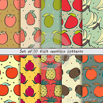 Free Set Fruit Seamless Patterns Royalty Free Stock Photos - 58027478