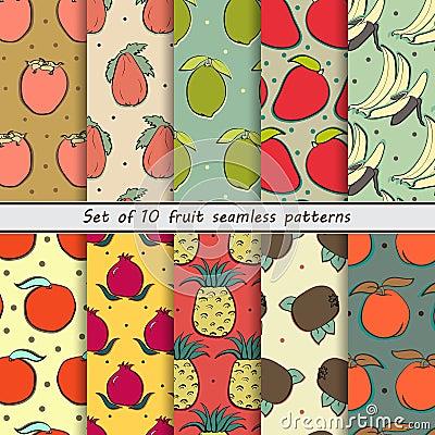 Free Set Fruit Seamless Patterns Royalty Free Stock Photos - 58027478