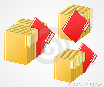Set Of Full Folders With Selected Red Item Sto