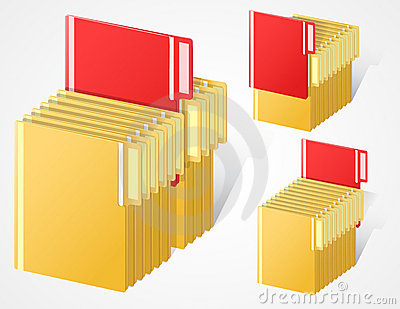 Set Of Full Folders With Selected Red Item Roy