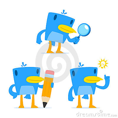 Set of funny cartoon blue bird
