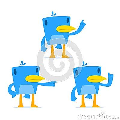 Set of funny cartoon blue bird