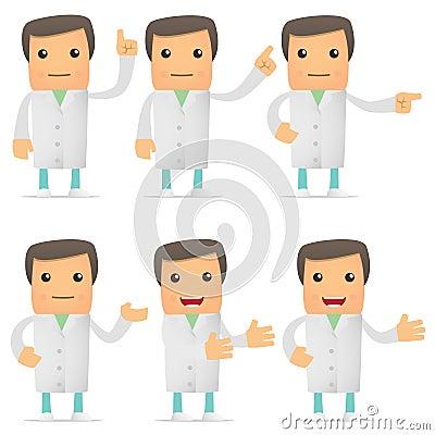 Set of funny cartoon doctor